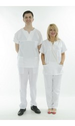 Halat medical - Bluza unisex din tercot cu anchior, Model in V